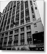 Yellow Cabs Outside Macys Department Store 7th Avenue And 34th Street Entrance New York Metal Print by Joe Fox