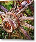 Yesterday's Wheel Metal Print by Marty Koch