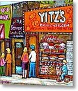 Yitzs Deli Toronto Restaurants Cafe Scenes Paintings Of Toronto Landmark City Scenes Carole Spandau  Metal Print by Carole Spandau