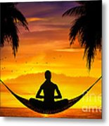 Yoga At Sunset Metal Print by Bedros Awak