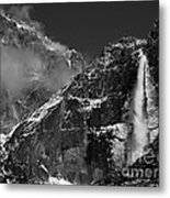 Yosemite Falls In Black And White Metal Print by Bill Gallagher