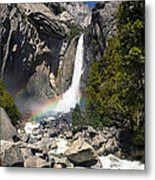 Yosemite Falls Rainbow Metal Print by Jane Rix