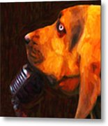 You Ain't Nothing But A Hound Dog - Dark - Painterly Metal Print by Wingsdomain Art and Photography