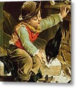 Young Boy With Birds In The Snow Metal Print by English School