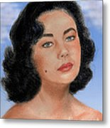 Young Liz Taylor Portrait Remake Version II Metal Print by Jim Fitzpatrick