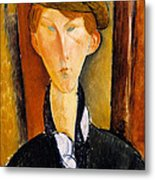 Young Man With Cap Metal Print by Amedeo Modigliani