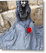 Young Woman Busker In Syracusa Sicily Metal Print by David Smith