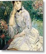 Young Woman Seated On A Sofa Metal Print by Berthe Morisot