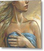 Young Woman With Blue Drape Crop Metal Print by Zorina Baldescu