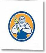 Zeus Greek God Arms Cross Thunderbollt Circle Retro Metal Print by Aloysius Patrimonio
