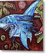 Zombie Eats Shark Metal Print by Laura Barbosa
