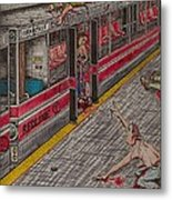 Zombies On The Red Line Metal Print by Richie Montgomery