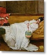 Girl In A White Dress Resting On A Sofa Metal Print by Alfred Emile Stevens