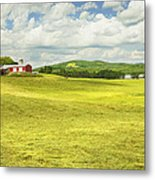 Hay Harvesting In Field Outside Red Barn Maine Metal Print by Keith Webber Jr