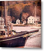 Old Ship Docked On The River Metal Print by Jill Battaglia