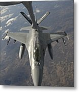 A Chilean Air Force F-16 Refuels Metal Print by Giovanni Colla