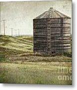 Abandoned Wood Grain Storage Bin In Saskatchewan Metal Print by Sandra Cunningham