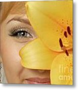 Beautiful Young Woman With A Yellow Lily Metal Print by Oleksiy Maksymenko