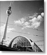 berliner fernsehturm Berlin TV tower symbol of east berlin and the Alexanderplatz railway station Metal Print by Joe Fox