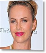 Charlize Theron Wearing A Jennifer Behr Metal Print by Everett