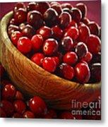 Cranberries In A Bowl Metal Print by Elena Elisseeva