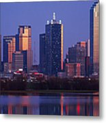 Dallas Skyline Reflected In Pond At Dusk Metal Print by Jeremy Woodhouse