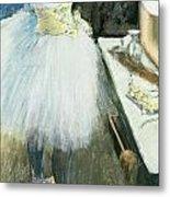 Dancer In Her Dressing Room Metal Print by Edgar Degas