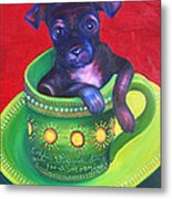 Dog In Cup Metal Print by Gail Mcfarland