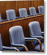 Empty Jury Seats In Courtroom Metal Print by Jeremy Woodhouse