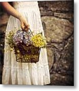 Girl With Flowers Metal Print by Joana Kruse