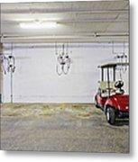 Golf Cart Parking Garage Metal Print by Skip Nall