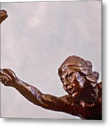 He Who Saved The Deer - Native American Youth Detail Metal Print by Dawn Senior-Trask and Willoughby Senior