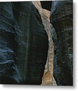 Hikers In The Siq Canyon Leading Metal Print by Gordon Wiltsie