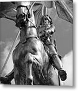 Joan Of Arc Statue French Quarter New Orleans Black And White Metal Print by Shawn O'Brien
