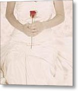 Lady With A Rose Metal Print by Joana Kruse