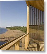 Lakeside Building And Dock Metal Print by Jaak Nilson