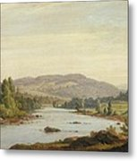 Landscape With River Metal Print by Sanford Robinson Gifford