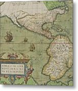 Map Of North And South America Metal Print by Abraham Ortelius