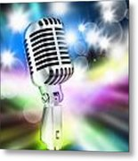 Microphone On Stage Metal Print by Setsiri Silapasuwanchai