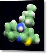 Olanzapine Antipsychotic Drug Molecule Metal Print by Dr Tim Evans