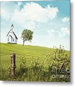 Old Country School House  On A Hill  Metal Print by Sandra Cunningham