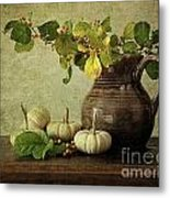 Old Pitcher With Gourds Metal Print by Sandra Cunningham