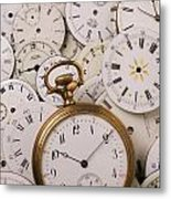 Old Pocket Watch On Dail Faces Metal Print by Garry Gay