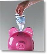Piggy Bank With Euros Metal Print by Tek Image