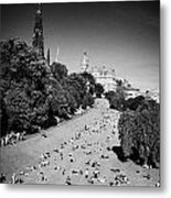 Princes Street Gardens On A Hot Summers Day In Edinburgh Scotland Uk United Kingdom Metal Print by Joe Fox