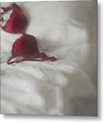 Red Brassiere Laying On Bed Metal Print by Sandra Cunningham