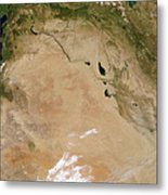 Satellite View Of The Middle East Metal Print by Stocktrek Images