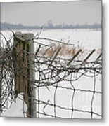 Snow Fence  Metal Print by Sandra Cunningham