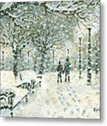 Snowing In The Park Metal Print by Kalen Malueg
