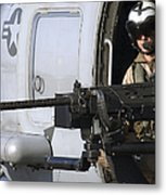 Soldier Mans A .50 Caliber Machine Gun Metal Print by Stocktrek Images